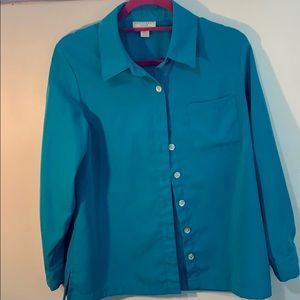 NWOT FAUX SUEDE BUTTON DOWN BLOUSE- 8P